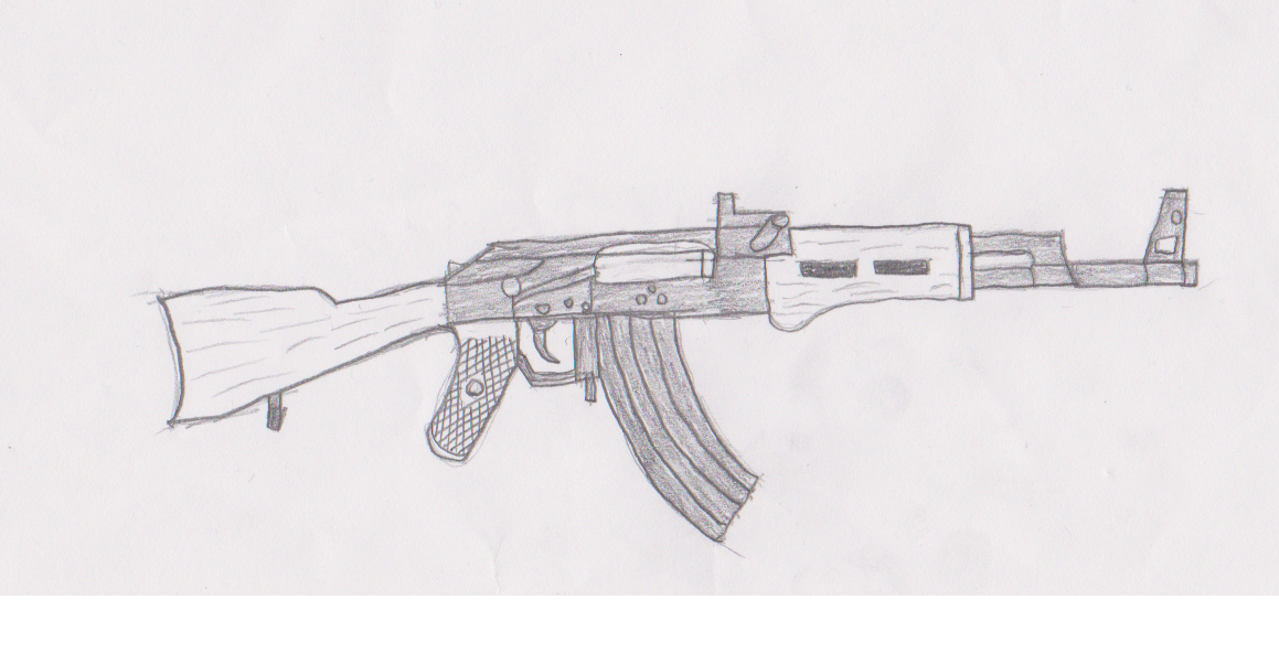 It is an image of Rare Drawing Of Ak 47