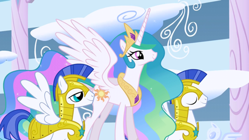 500px-Princess_Celestia_and_guards_S1E16