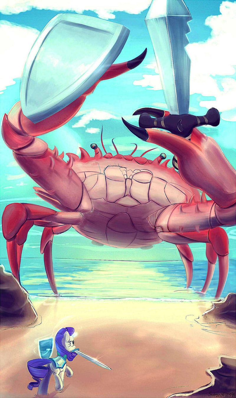 rarity_fighting_a_giant_crab_by_subjectn