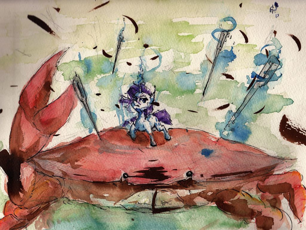 commssion_rarity_versus_a_giant_crab_by_