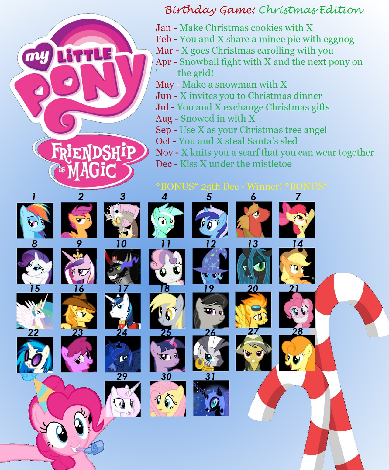 ponies birthday game christmas edition forum lounge mlp forums