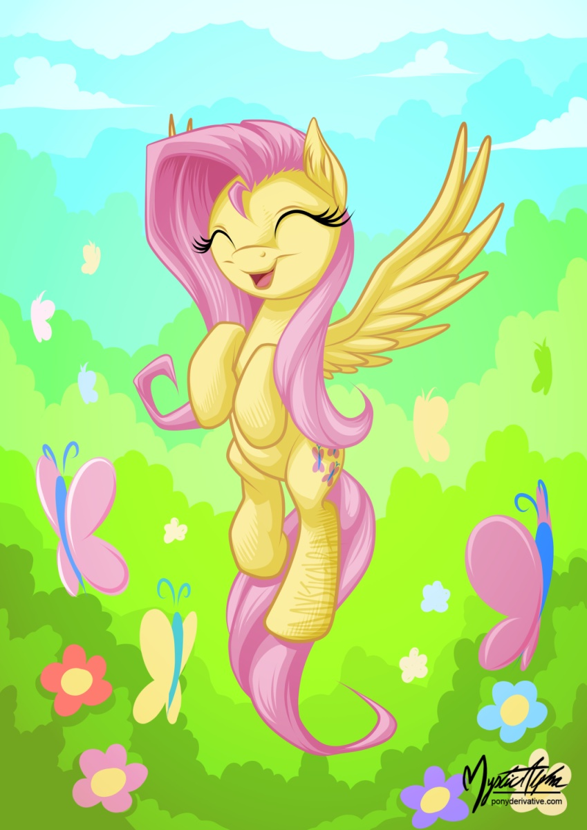fluttershy flying with butterflies - 724×1023