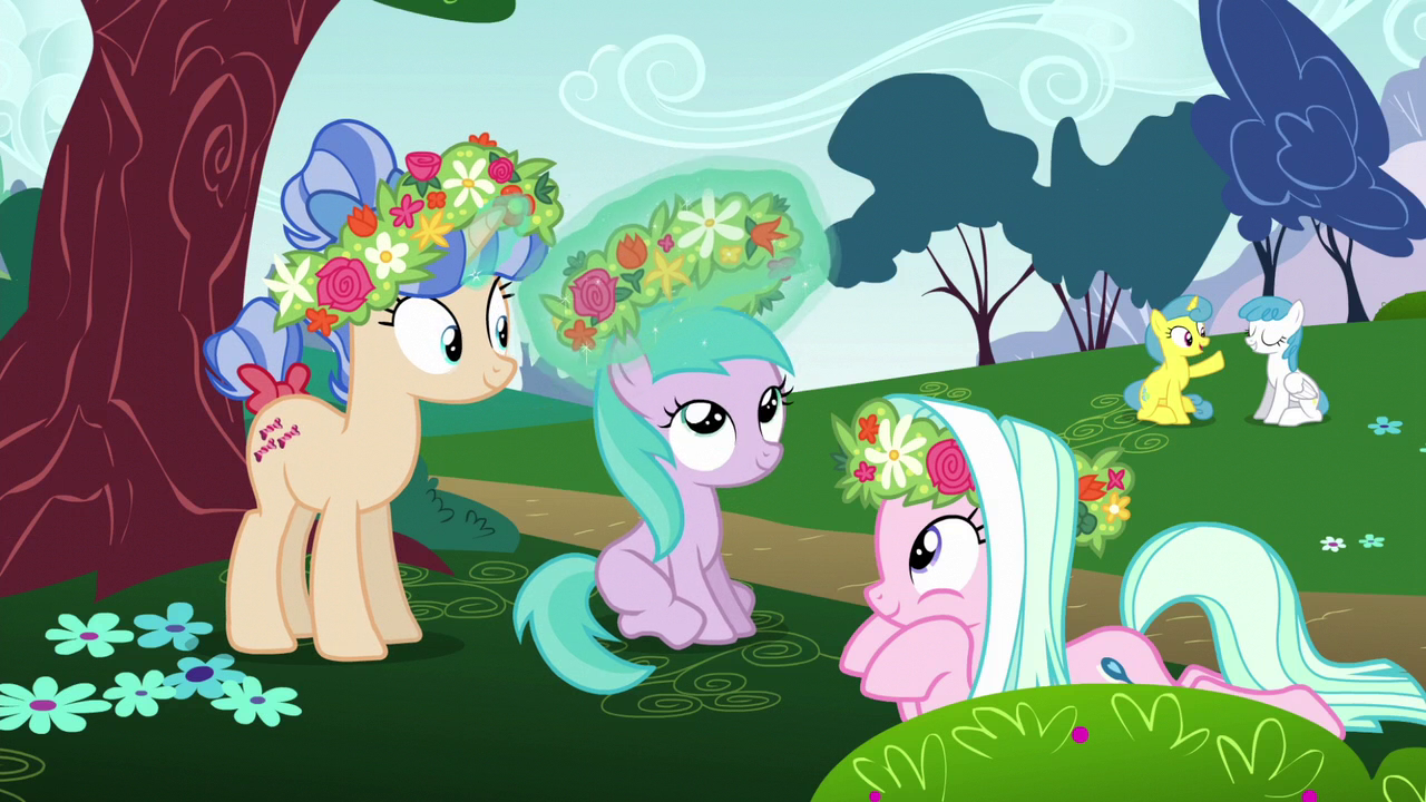Ponies_and_Aura_playing_with_flowers_S6E